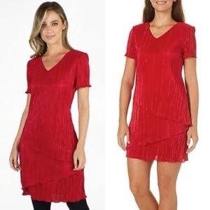 Connected Apparel Red V-Neck Cocktail Dress
